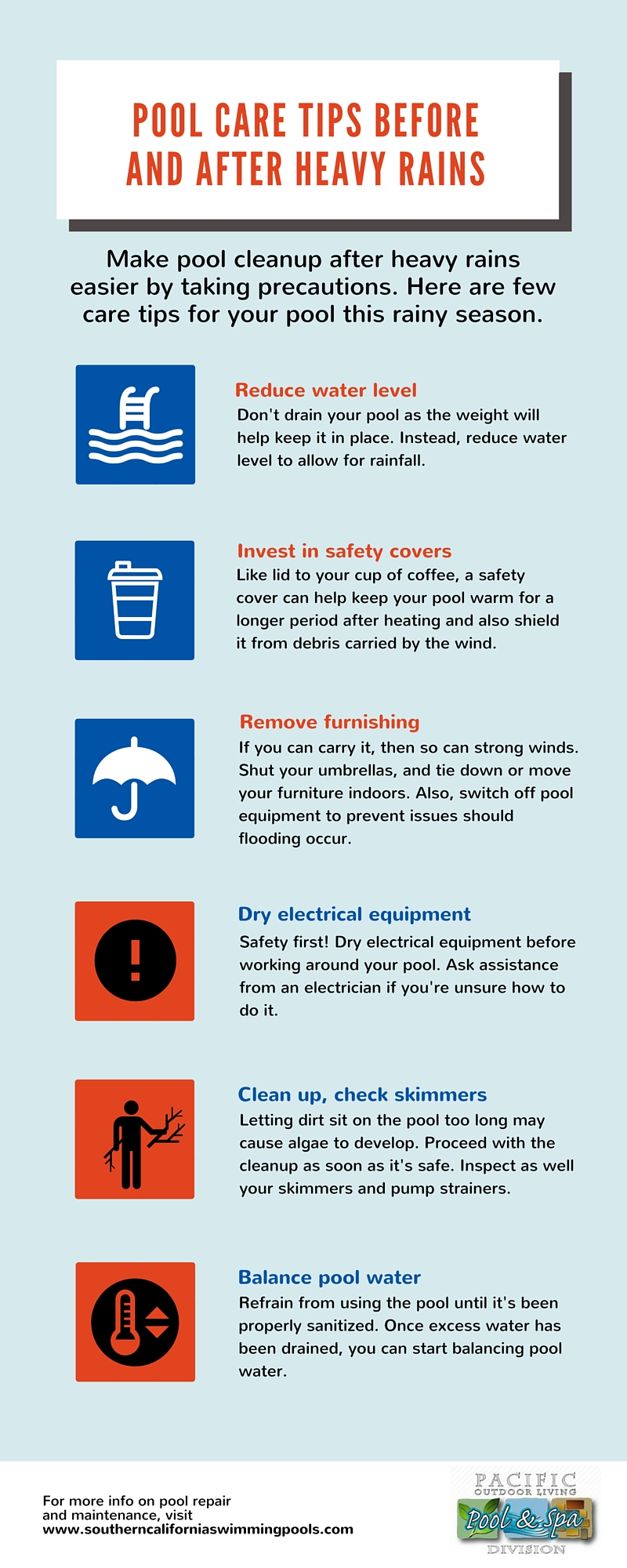 Pool Maintenance For Rainy Season Infographic Southern California Swimming Pools